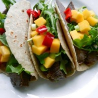 Coconut & Mango Steak Tacos by Rachel Schultz