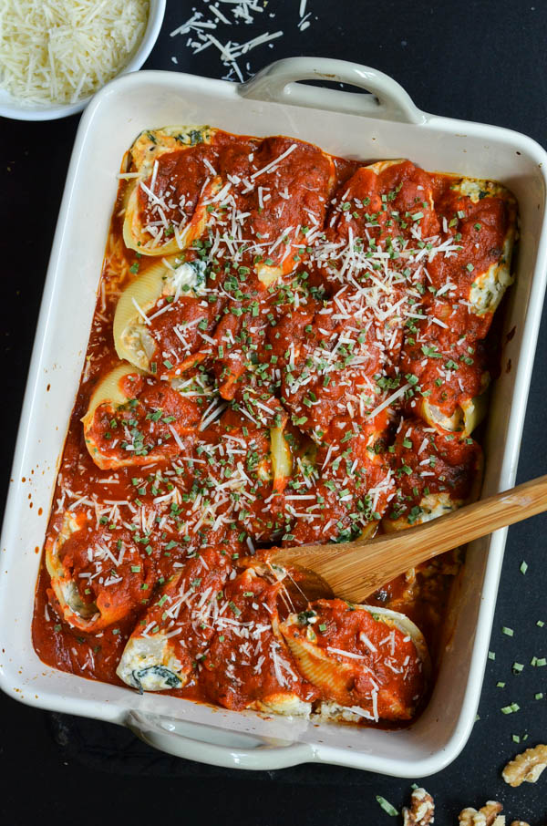 FETA & SPINACH STUFFED SHELLS from Rachel Schultz