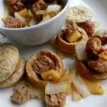 KIELBASA & APPLE STIR FRY WITH MINI PUFF PANCAKES