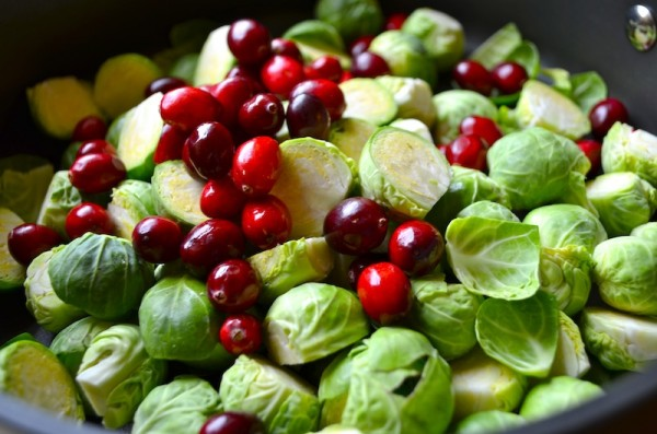 Pan-Seared Brussels Sprouts with Cranberries & Pecans by Rachel Schultz