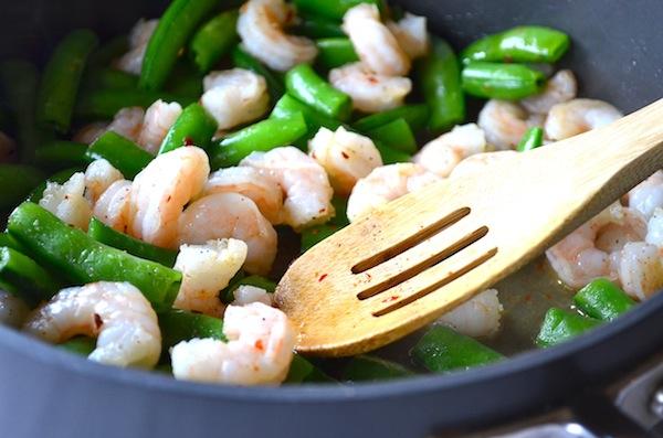 Sautéed Pistachio Shrimp & Sugar Snap Peas from Rachel Schultz