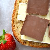 Roasted Strawberry & Chocolate Brie Grilled Cheese from Rachel Schultz