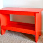 PAINTING A RED-ORANGE BENCH