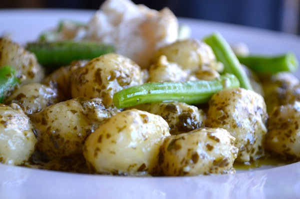 Creamy Pesto Gnocchi with Peppered Green Beans from Rachel Schultz