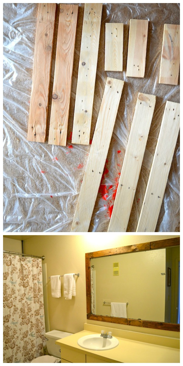 Rachel Schultz Framing A Bathroom Mirror With Pallets