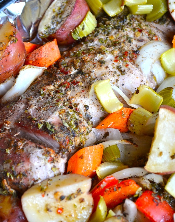 Cajun Roasted Pork Loin and Vegetables from Rachel Schultz