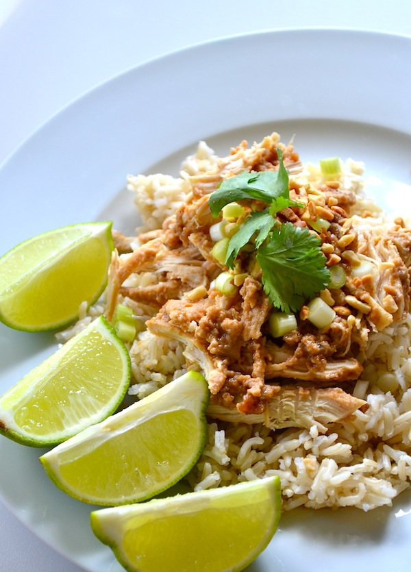 Skinny Crockpot Thai Peanut Chicken from Rachel Schultz