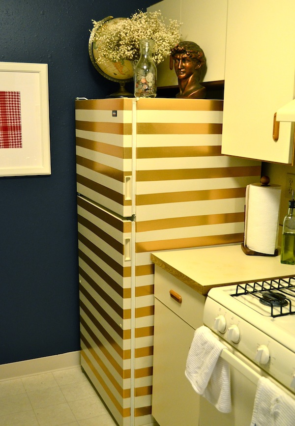 A Gold Striped Fridge (made of duct tape!) from Rachel Schultz