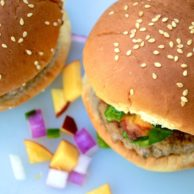 Turkey Chipotle Burgers with Nectarine Basil Salsa from Rachel Schultz