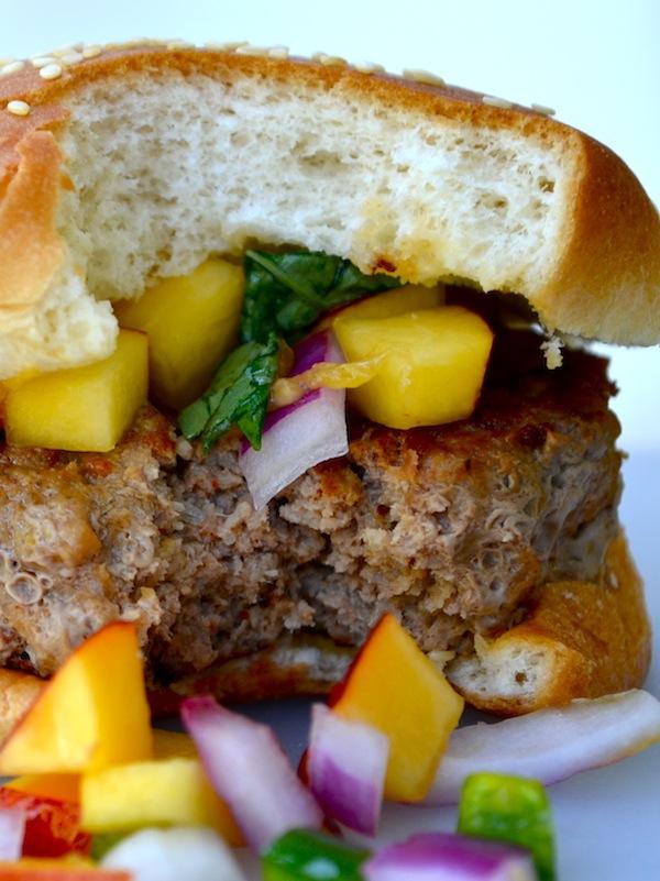 Turkey Chipotle Burgers with Nectarine Basil Salsa from Rachel Schultz