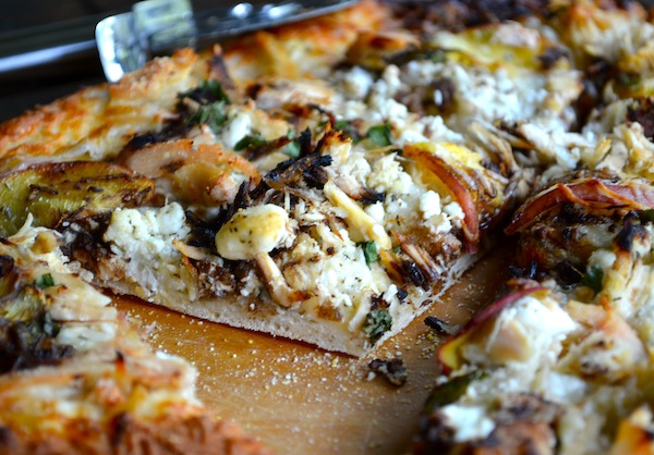 Goat Cheese Pizza Peach and balsamic goat cheese