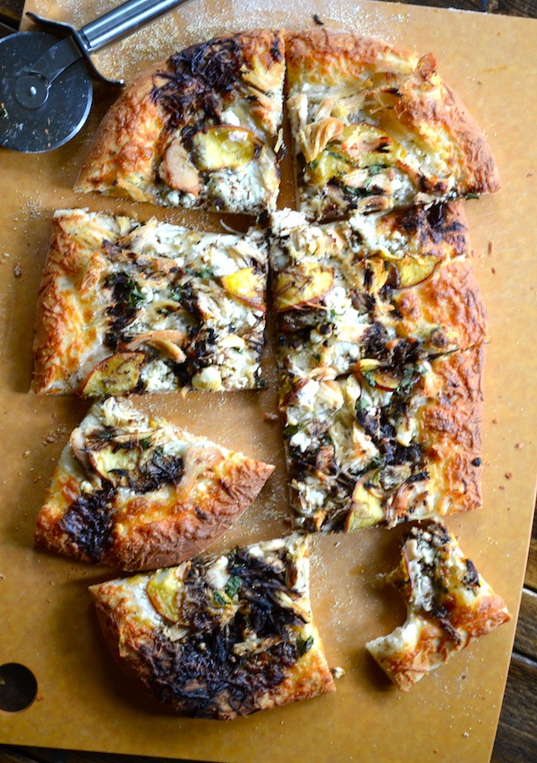 Peach and Balsamic Goat Cheese Pizza from Rachel Schultz