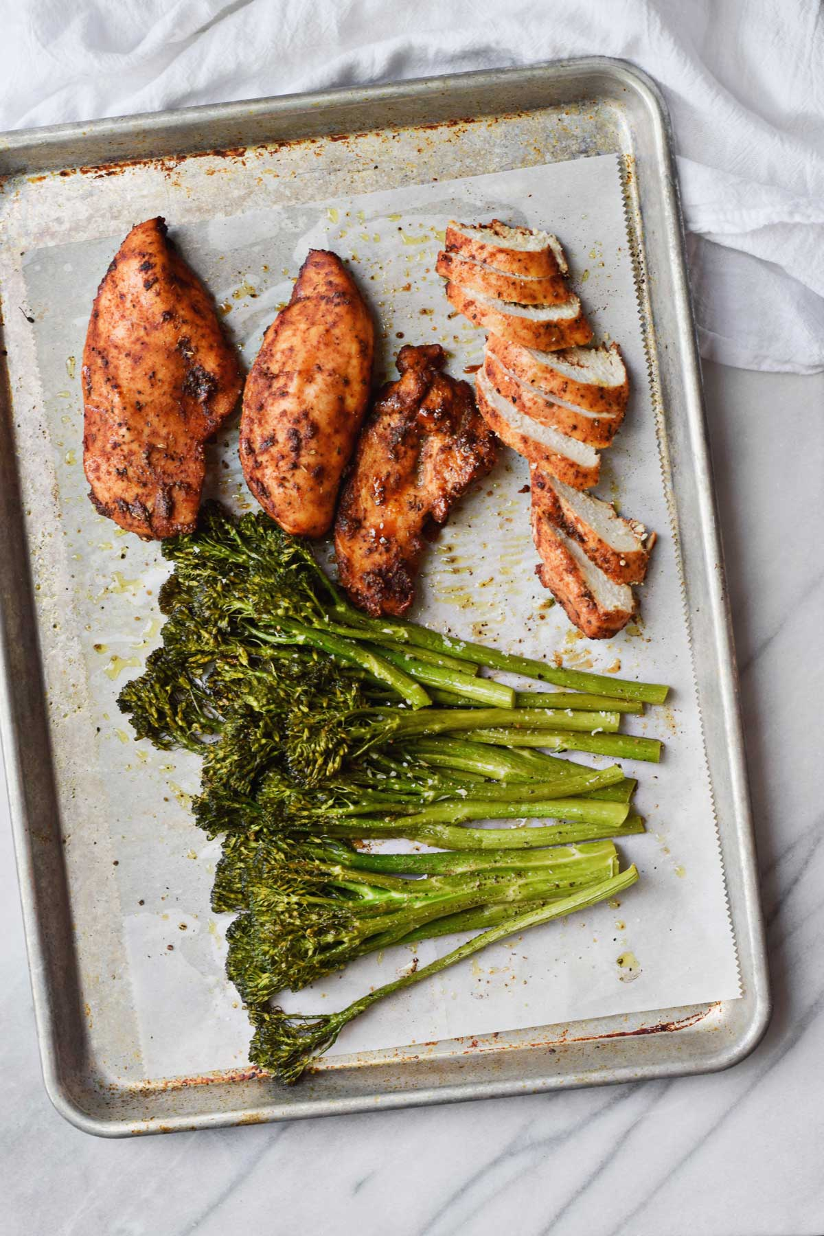 Brown Sugar Spiced Baked Chicken with Broccolini