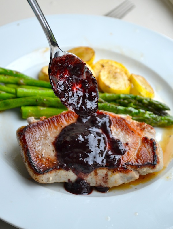SEARED PORK CHOPS WITH BLUEBERRY GLAZE from Rachel Schultz