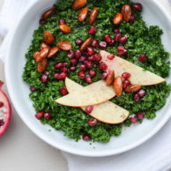 WINTER KALE SALAD WITH POMEGRANATE & BALSAMIC ALMONDS from Rachel Schultz