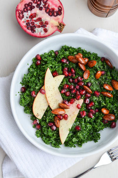 WINTER KALE SALAD WITH POMEGRANATE & BALSAMIC ALMONDS