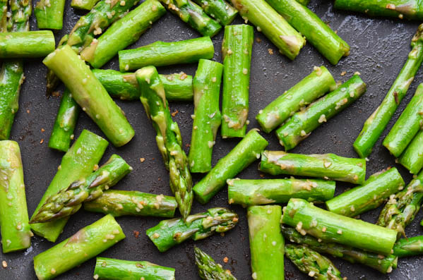 Asparagus Stalks in Pan with Garlic
