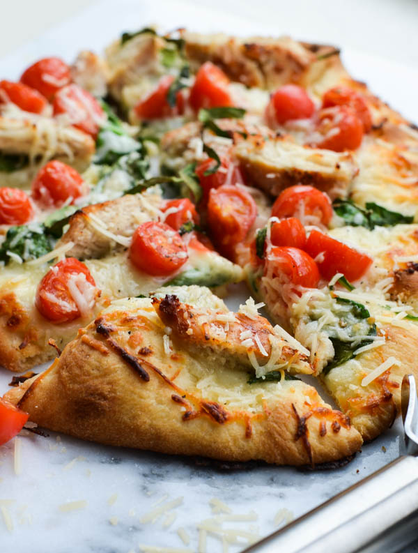 CHICKEN FLORENTINE FLATBREAD from Rachel Schultz
