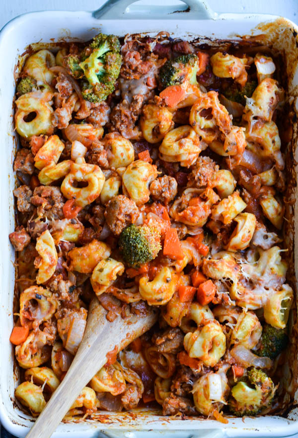 BAKED TORTELLINI WITH SAUSAGE & BROCCOLI from Rachel Schultz