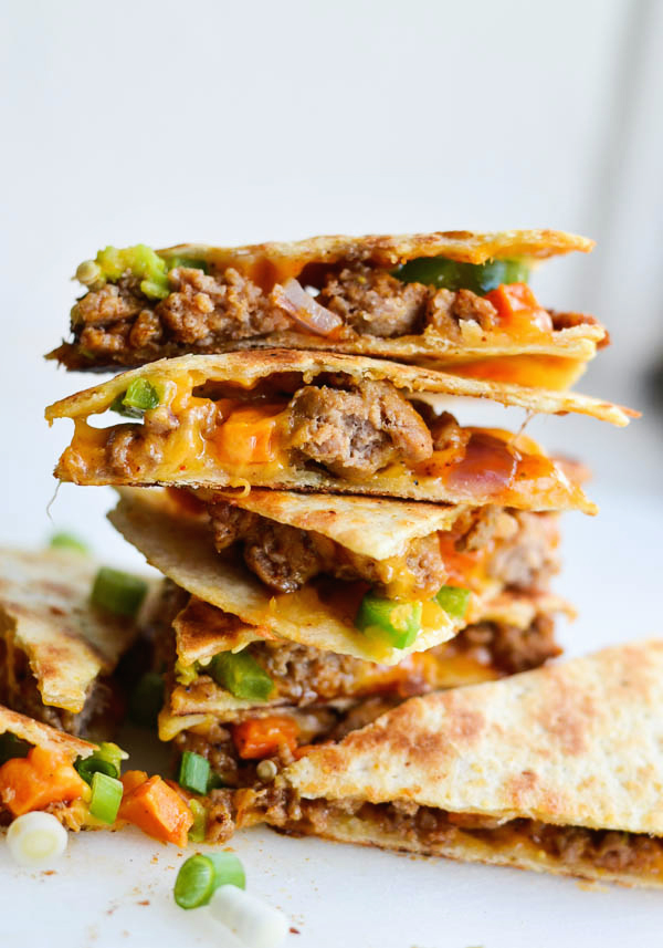SAUSAGE & SWEET POTATO QUESADILLAS