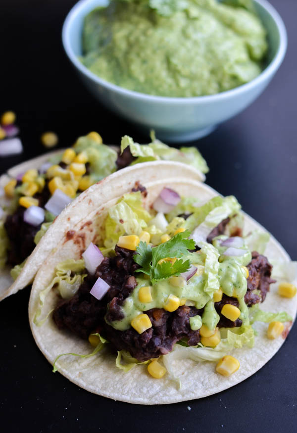 BLACK BEAN TACOS WITH CILANTRO SAUCE from Rachel Schultz