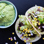 BLACK BEAN TACOS WITH CILANTRO SAUCE