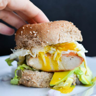 CHICKEN & AVOCADO EGG BURGERS from Rachel Schultz