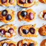 Sweet Potato & Roasted Grape Crostini