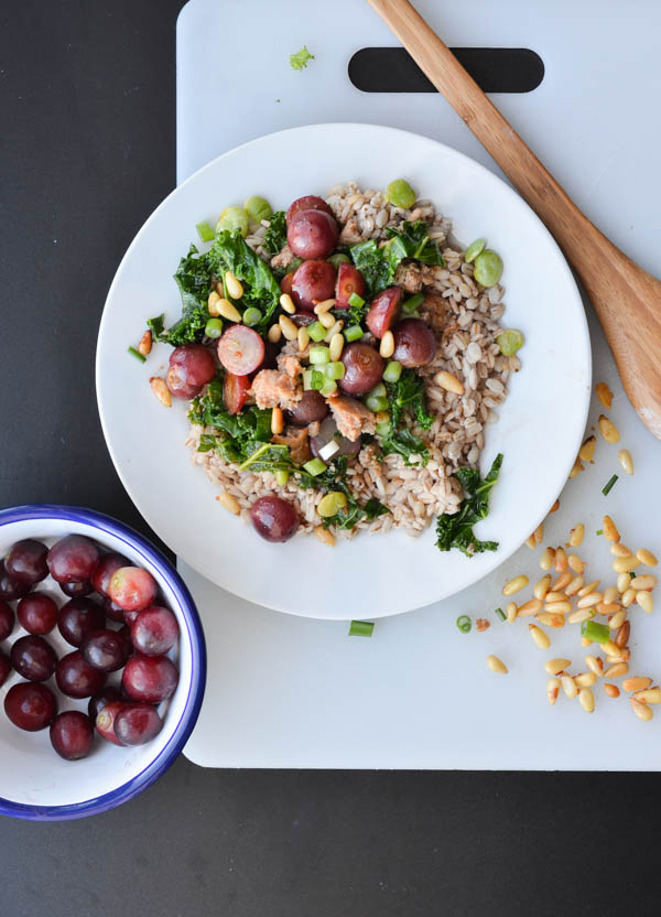 GRAPE & SAUSAGE BARLEY SALAD from Rachel Schultz