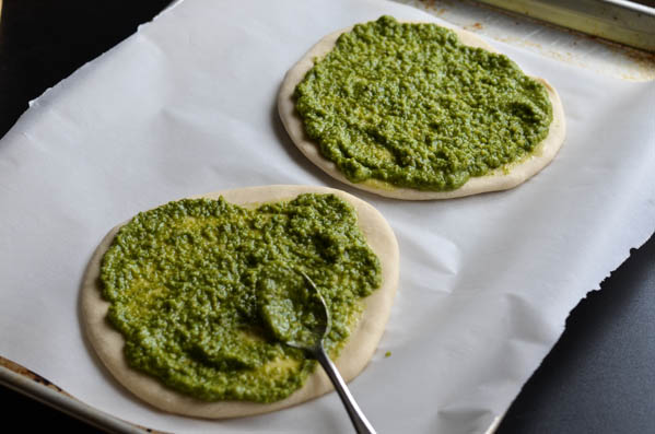 SHRIMP PESTO PIZZAS from Rachel Schultz