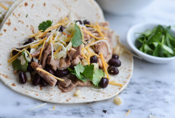 SLOW COOKER PORK TACOS & CORN SLAW from Rachel Schultz