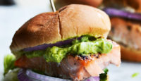 Salmon Sliders with Avocado Dill Sauce