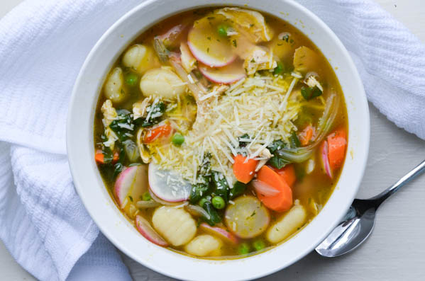 SPRING VEGETABLE & GNOCCHI SOUP from Rachel Schultz