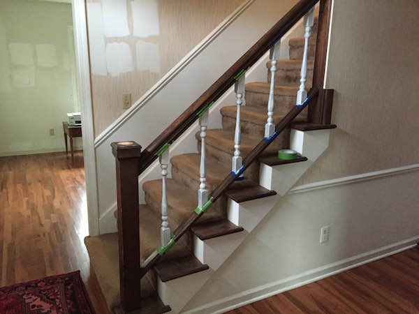 Painting The Stair Rail Spindles From Rachel Schultz