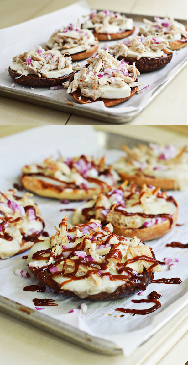 BBQ CHICKEN PIZZA BAGELS from Rachel Schultz