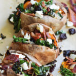 Loaded Goat Cheese Baked Sweet Potatoes