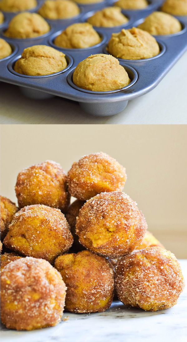 PUMPKIN DOUGHNUT HOLES (IN A MINI MUFFIN PAN! from Rachel Schultz