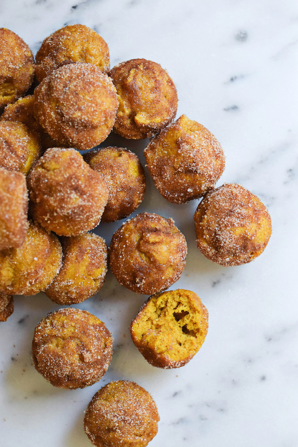 PUMPKIN DOUGHNUT HOLES (IN A MINI MUFFIN PAN!)