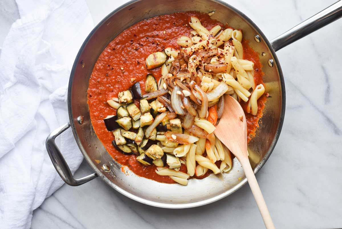 Caramelized Onion and Eggplant Gemelli in Skillet