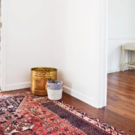 Persian Rug in Mudroom with Metal Bin