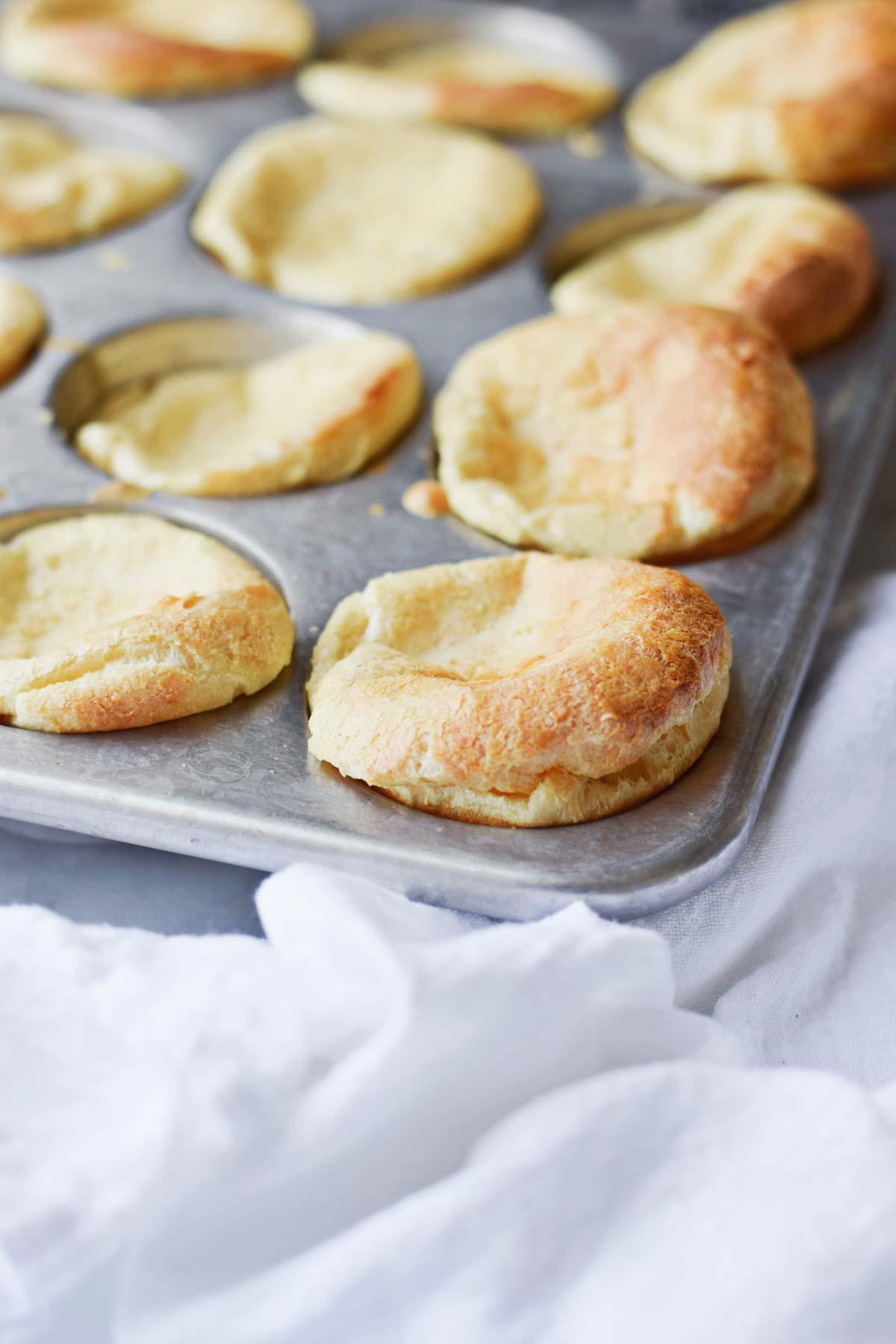 Apple Kielbasa with Mini Puff Pancakes in Muffin Pan